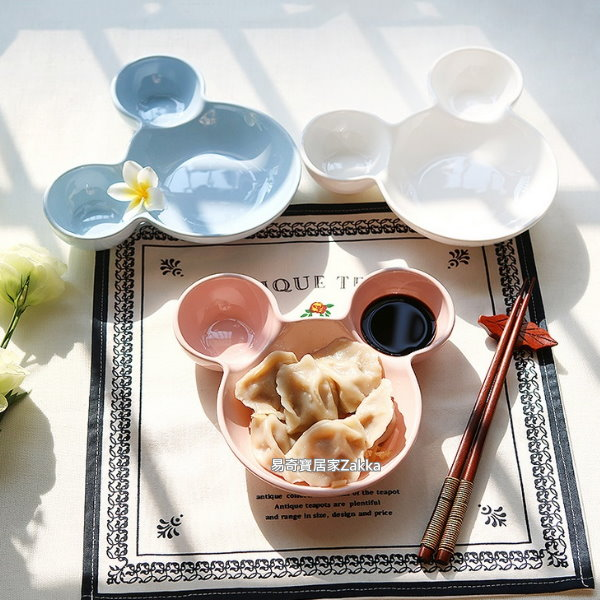 生活馆】创意米奇造型儿童餐盘 点心盘  陶瓷餐盘 白色   ☆烹饪食谱